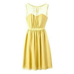 Tevolio Yellow Chiffon Fit & Flare Dress
